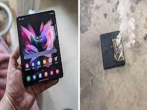 صورة الخبر: شاهد.. انفجار هاتف سامسونج Galaxy Z Fold 3 القابل للطي