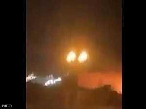 لحظة استهداف مطار أربيل بصاروخ
