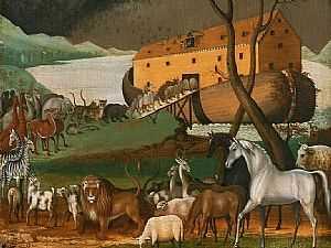 لوحة للرسام الأمريكي، إدوارد هيكس، تظهر رؤيته لسفينة نوح