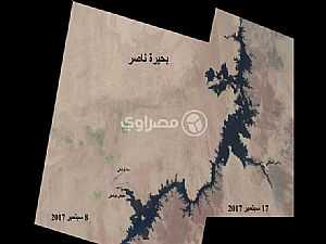 بعد أنباء انخفاضه.. مصراوي ينشر صور فضائية تكشف منسوب مياه بحيرة ناصر