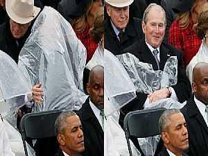 حاول أن تفهم ما الذي فعله بوش في حفل تنصيب ترمب